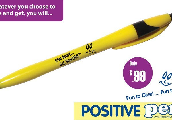 Give heart ... Get heartfelt™. Spread positive and kind messages. Give a Positive Pen™. Create the positive effect.