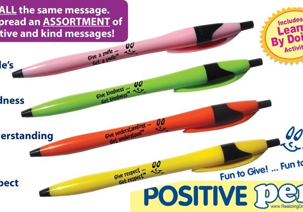 Spread smiles, positive and kind messages. Give a Positive Pen™. Create the positive effect.