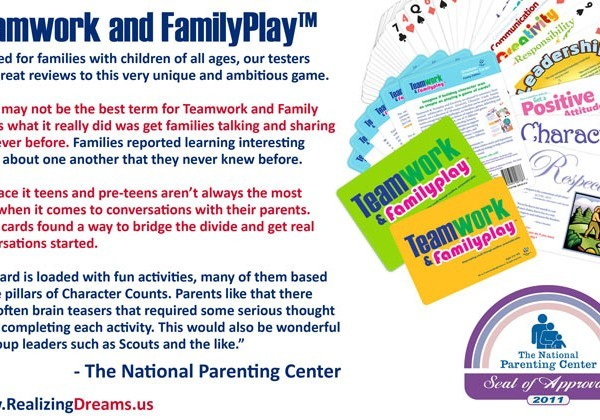 Get families talking and sharing like never before with an ward winning collaborative Family Game. It's all about a little Teamwork and FamilyPlay!