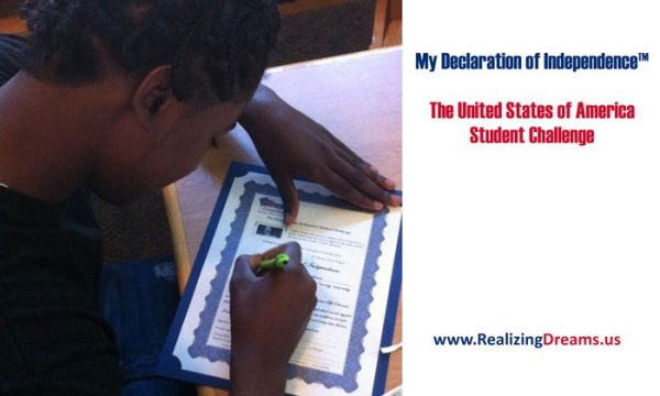 Parent engagement in education. Student's making a promise to do the best in their life. My Declaration of Independence™, it's The United States of America Student Challenge by www.Realizing Dreams.us.