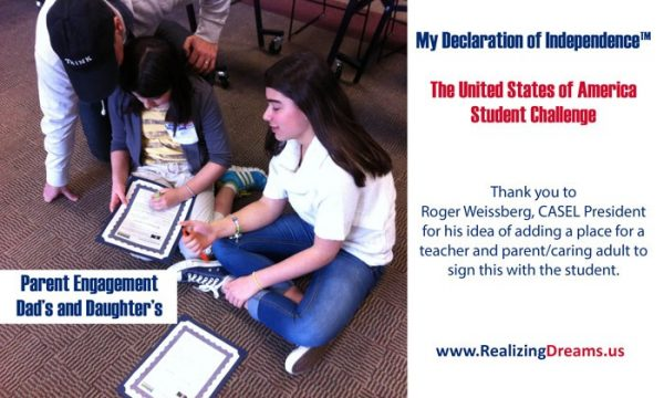 Parent engagement in education. Student's make a promise to do the best in their life. My Declaration of Independence™, it's the United States of America Student Challenge by www.Realizing Dreams.us.