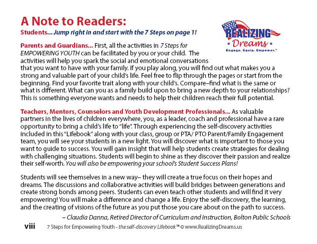A Note to Readers - 7 SFEY GPS for Success