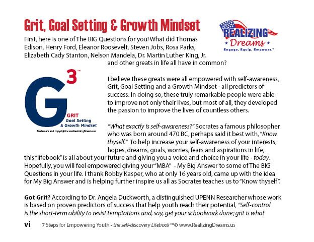 G3 G to the (3rd) third power by Jim Cantoni, Author of 7 Steps for EMPOWERING YOUTH:Self-Awareness Developing GRIT and a Growth Mindset and Founder of Realizing Dreams.us
