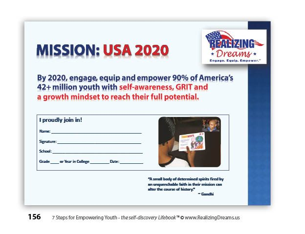 Mission USA 2020 in 7 Steps for EMPOWERING YOUTH:Self-Awareness Developing GRIT and a Growth Mindset Jim Cantoni, Author and Founder of Realizing Dreams.us